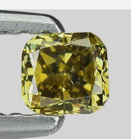 Diamond olive green vs+ .23ct ultra rare natural untreated cushion cut stunning fire and sparkle