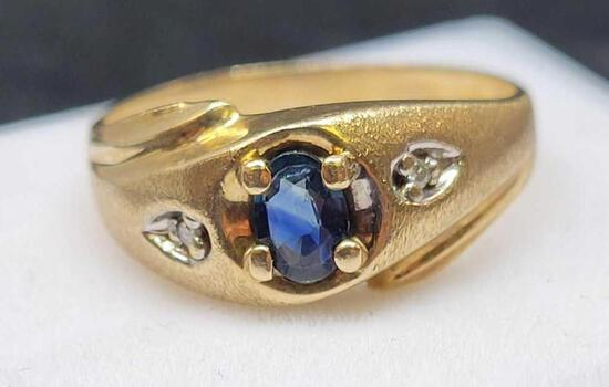 10kt gold plated blue Sapphire and diamond ring beautiful