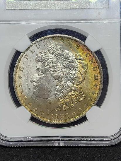 1883-O Morgan silver dollar MS63 Rainbow slab