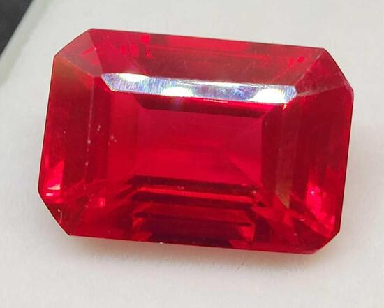 Natural ruby 22.35ct emerald cut huge gemstone with GGL id card