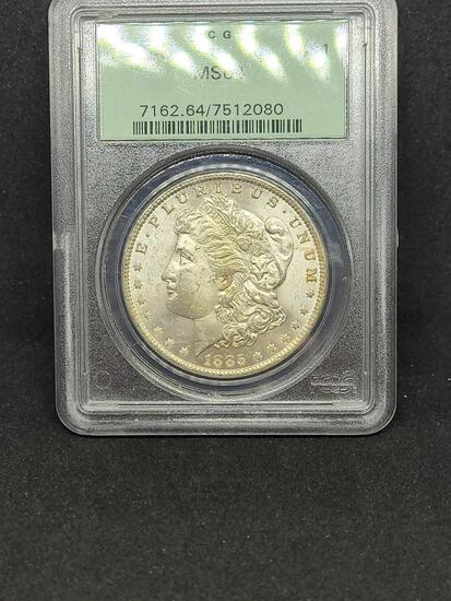 1885-O Morgan silver dollar MS64 PCGS slabed coin