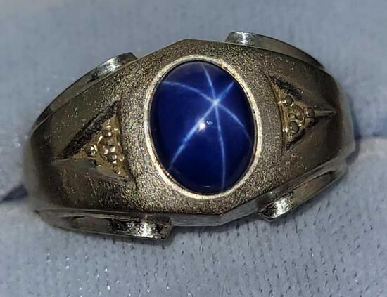 10kt white gold with blue star Sapphire and diamonds