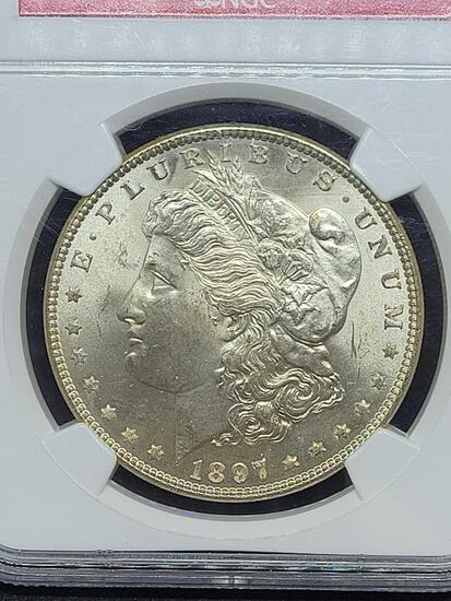 1897 Morgan silver dollar MS64 NGC