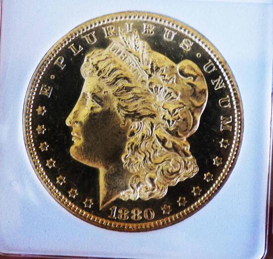 Morgan silver dollar 1880 S GEM BU DMPL GLASSY CAMEO BLAZING FROSTY BEAUTY COIN