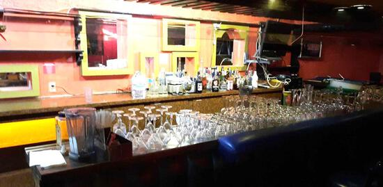 Bar Entire Contents Stainless Steel Sinks, Glassware, Fridge