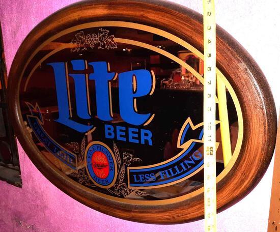 Miller Lite Beer Mirror Sign 20in Tall