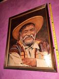 Pancho Villa Painted Portrait 30in Tall