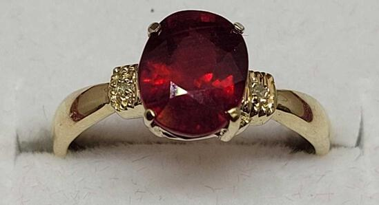 10kt Gold Ring w/ Set Natural Mined Exotic Ruby & Diamond Beauty Size 7, Perfect Mothers Day Gift