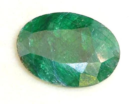 Deep Gorgeous Green Naturally Earth Mined Oval Cut Emerald Large 10.26ct Gem Stone