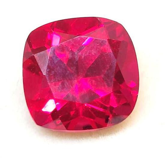 Princess Cut Blood Red Ruby 6.93ct Gem Stone