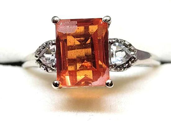 Sterling Silver Ring w/ Jadeite & Topaz Gem Stone, Size 9