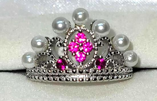 Princess Pearl Silver 925 Ring w/ Set Bright Pink Sapphire Gem Stones Size 7