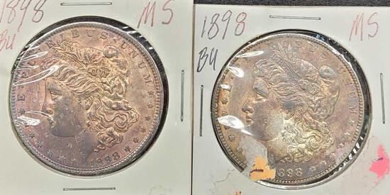 2 1898-P Rainbow tone Morgan silver dollar