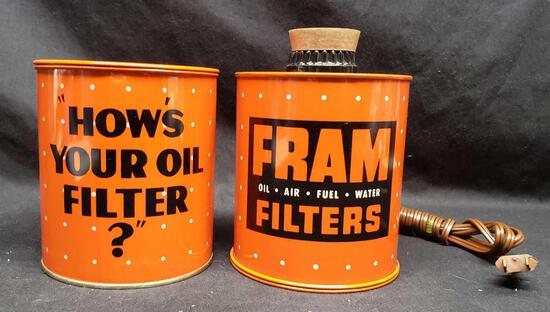 Fram oil filter cans Lighter and Ashtray set