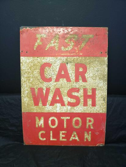 Fast Car Wash Motor Clean 40 x 28 Metal sign Two sided sign