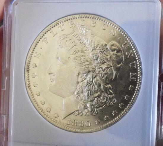 Morgan silver dollar 1880 O gem BU blazing rear date Frosty cameo mirrors