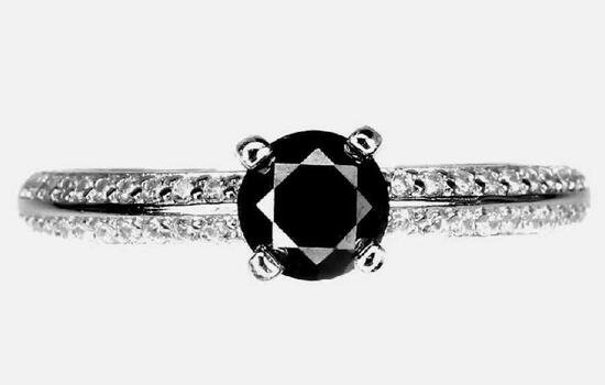 Black Diamond ring natural .75ct set in 925 sterling new designer high end