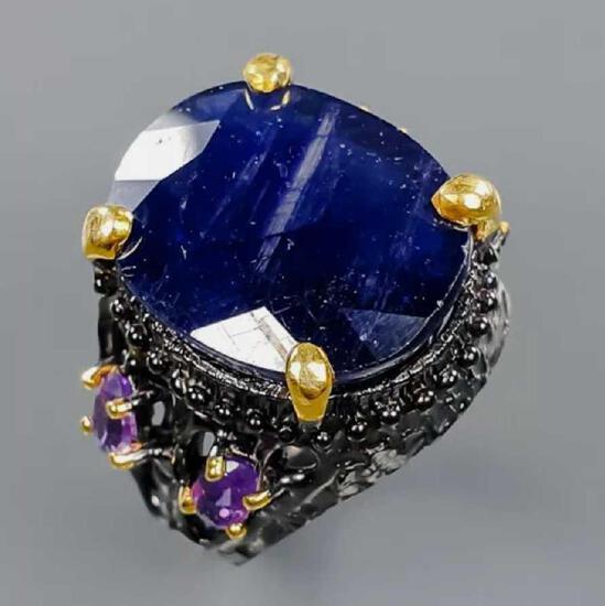 Saphire ring huge 31+ct natural purple Saphire set in sterling hand made designer