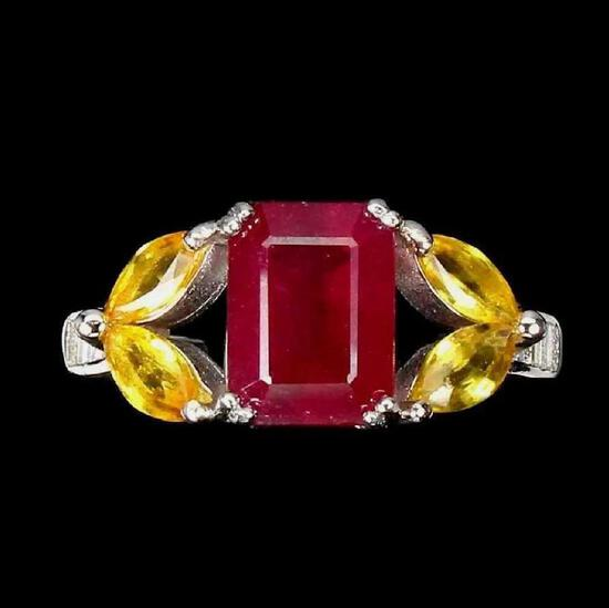 Red Ruby & Yellow Sapphire Ring Blood Red AAA Top Quality 5.5+CTW Sterling 925 New Designer