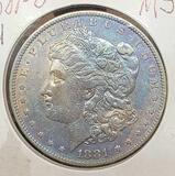 1881-O Morgan silver dollar MS BU Slight rainbow