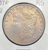 1896-p Rainbow tone Morgan silver dollar