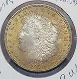 Morgan silver dollar 1921 Monster target golden toned rainbow rare $$$ premium BU+++