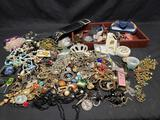 Mixed Lot Fashion Jewelry, Mismatched Watches, Great for Artwork Pieces w/ Jewelry Box