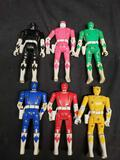 1993 5 1/2 in Power Rangers Blue, Black, Red, Pink, Green & Yellow