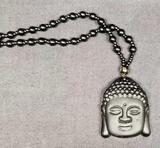 Obsidian Hand Carved Lucky Buddha Amulet Pendant & Bead Necklace Natural Black