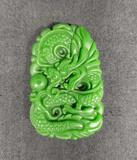 Green Natural Jade Dragon Amulet Pendant