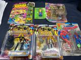 Box of Various Action Figures Spider Man Marvel Hall of Fame Simpsons