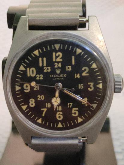 Rare Rolex Vietnam War Pilot's Wristwatch, Black Dial W/ Affidavit Provenance