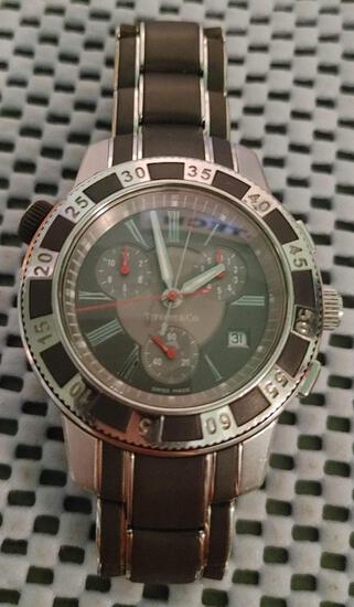27 Jewel Tiffany Mark T-57 Resonator Men's Divers Stainless Steel watch Clasp bracelet certified