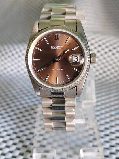Bulova Super Seville Automatic Date Stainless Steel Fluted Bezel Presidential Bracelet