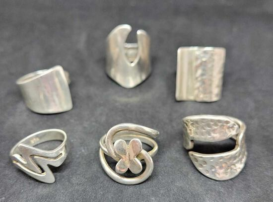 6 stunning ring's with 950 silver stamp