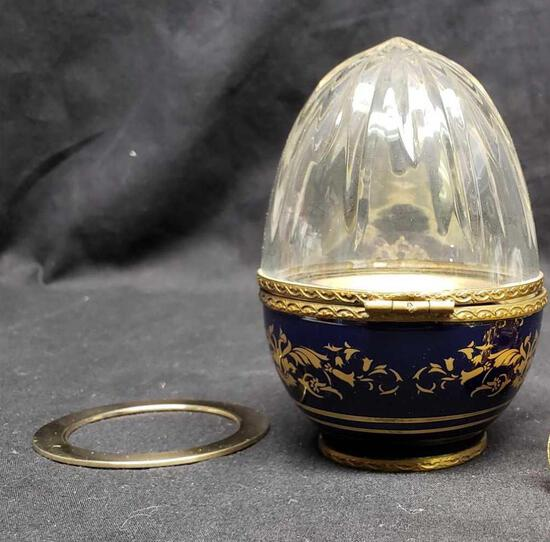 Faberge Blue Porcelain Crystal Top Caviar Egg