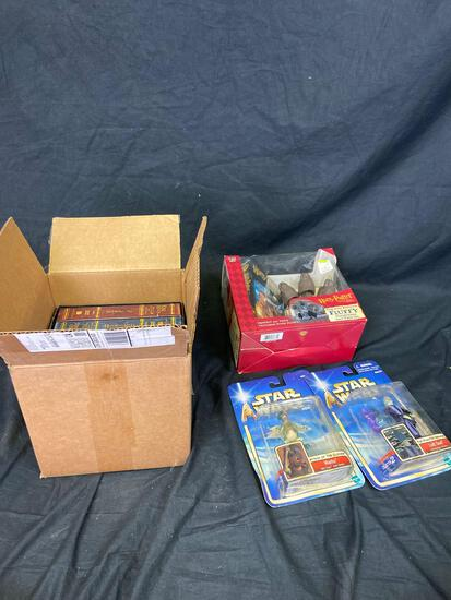 Misc box lord of the rings books Star Wars and Harry Potter action figures