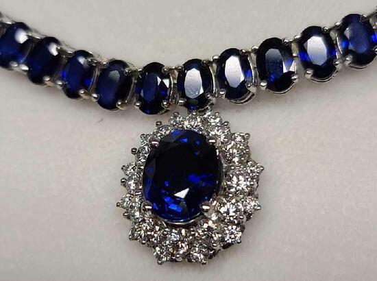Ben Bridge 14kt white gold Sapphire & Diamond necklace