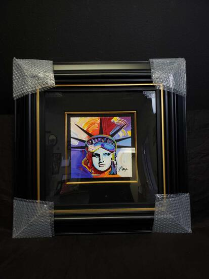 Peter Max Liberty Head Serigraph in Color on Woven Paper Signed w COA & Appraisal
