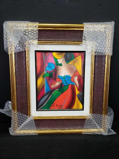Linda Le Kinff. L' Amour en Fete on Yellow Hat. Seriograph on Canvas w COA & Appraisal Signed