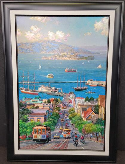 'Hyde Street' Signed Alexander Chen Giclee on Canvas 913/950 w/ CoA