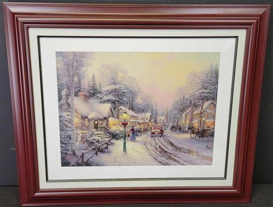 Thomas Kinkade 'Small Christmas Village' 4341/4850 Signed Framed Numbered Lithograph Artwork