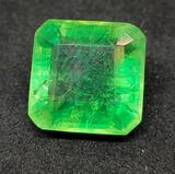 Lime green princess cut Emerald 7.04ct gemstone