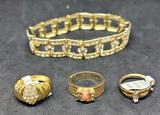 Jewelry lot 3 18ktGE rings and bracelet ring size 6 1/2 & 6