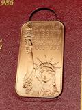 Statue of Liberty 1886-1986 Official Copper Commemorative Ingot