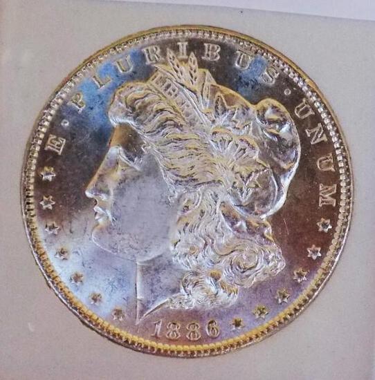 Morgan silver dollar 1886 Gem BU MS+++ Frosty white PL Glassy Beauty