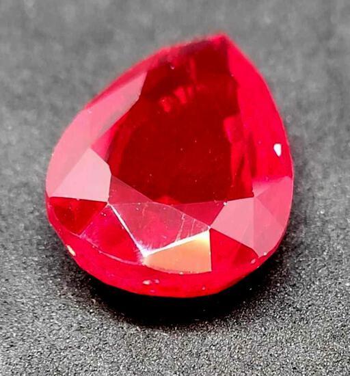 Pear cut red Ruby 30.72ct gemstone