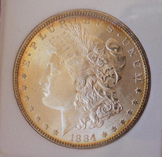 Morgan silver dollar 1884 Gem BU Pastel Rainbow Stunning High Grade