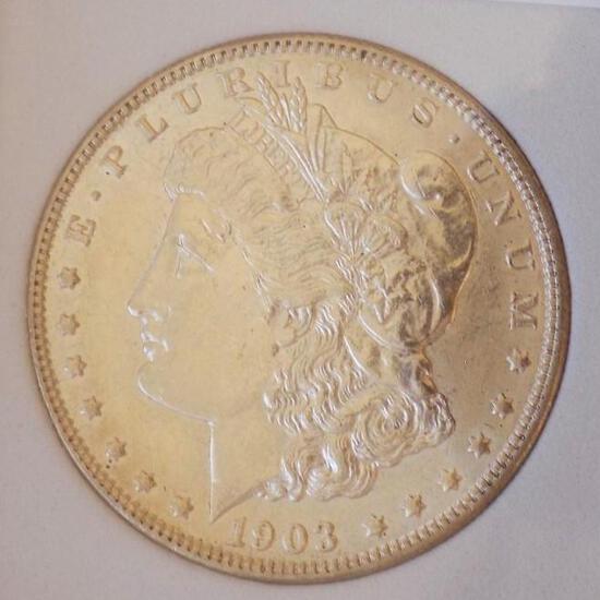 Morgan silver dollar 1903 P Gem BU blazing Frosty better date