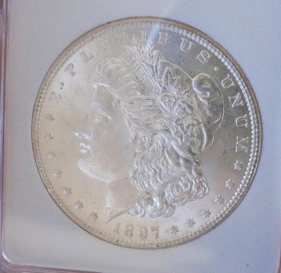 Morgan silver dollar 1897 blazing satin white gem BU Semi PL Beauty